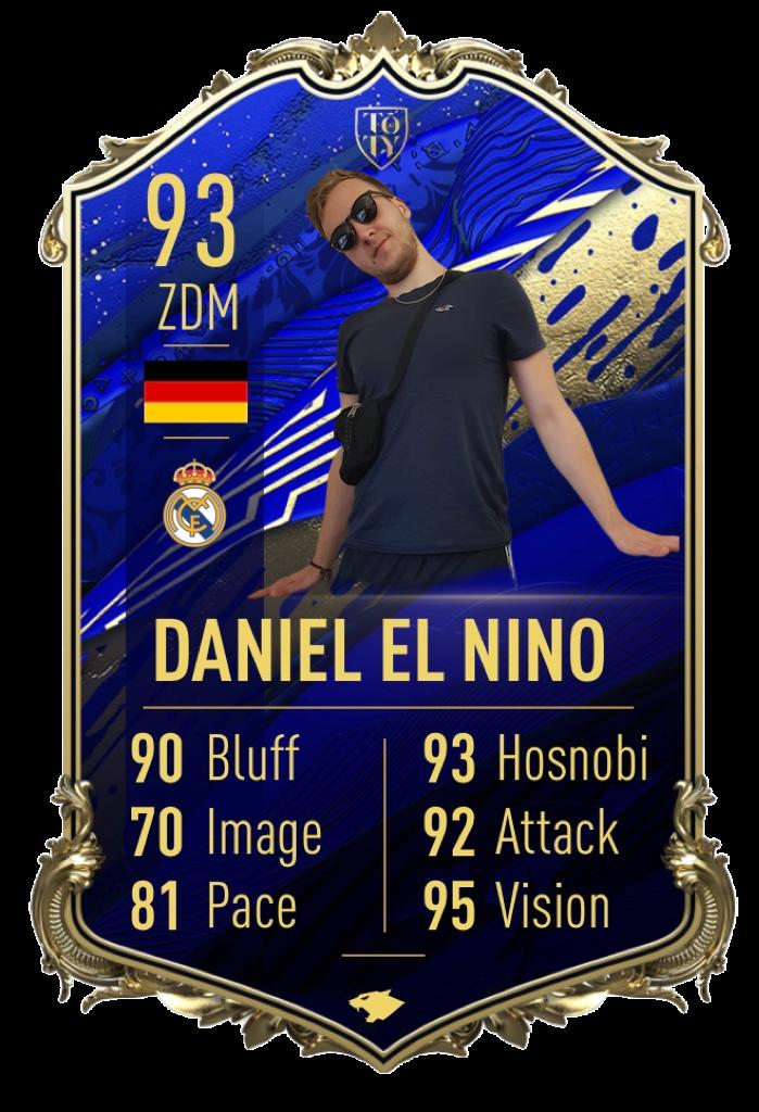 Daniel El Nino: Team of the Year: Dieses Jahr gehörte ihm. Seit dem 1. Spieltag auf Rang 1 vermochte es niemand ihn vom Thron zu stürzen. Mit durchschnittlich 3 Punkten pro Turnier flog er unaufhaltsam durch die Saison.